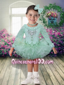 2014 Ball Gown Scoop Long Sleeves Little Girl Dress with Beading and Ruffles