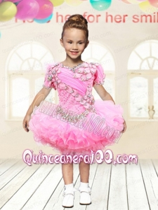 2014 Ball Gown V-neck Rose Pink Sweet Little Girl Dress with Beading