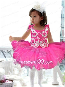 2014 Cute Straps Appliques and Ruffles Hot Pink Little Girl Dress with Bowknot