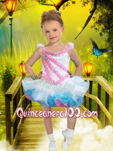 2014 Exquisite Scoop Multi-color Little Girl Dress with Beading and Ruffles