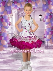 2014 Luxurious Halter Knee-length Embroidery and Ruffles White Little Girl Dress