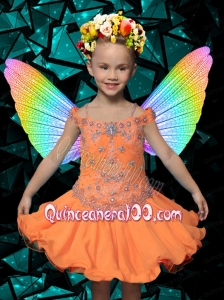 2014 Luxurious Knee-length Beading and Ruffles Orange Little Girl Dress with Off the Shoulder