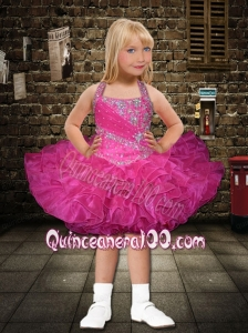 2014 Popular Halter Beading and Ruffles Hot Pink Little Girl Dress with Lace-up