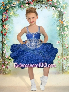 2014 Pretty Ball Gown Beading and Ruffles Knee-length Little Girl Dress with Straps