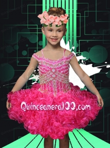 2014 Pretty Hot Pink Ball Gown Little Girl Dress with Beading and Ruffles