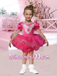 2014 V-neck Short Sleeves Beading and Appliques Hot Pink Little Girl Dress