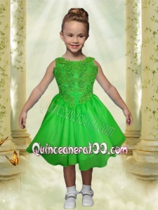 A-Line Scoop Appliques and Beading Tea-length Little Girl Dress in Spring Green