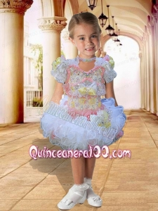 A-Line Scoop Knee-length Beading Bowknot Multi-color Short Sleeves Little Girl Dress