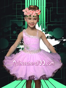 Asymmetrical Lilac 2014 Romantic Little Girl Dress with Beading and Ruffles