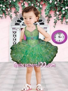Ball Gown Halter Beading and Ruffles Mini-length Little Girl Dress in Green