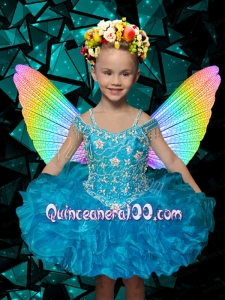 Beautiful Blue Off the Shoulder Beading and Ruffles Little Girl Dress for 2014