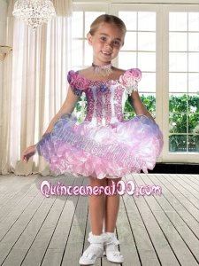 Beautiful Hand Made Flowers and Ruffles Off the Shoulder 2014 Little Girl Dress with Beading