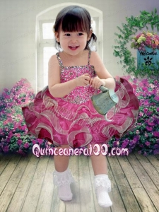 Beautiful Hot Pink Beading and Ruffles Knee-length Little Girl Dress with Asymmetrical