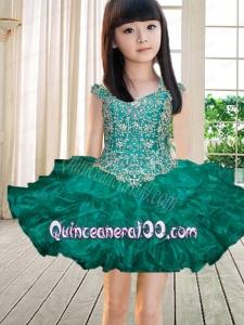 Beautiful Off the Shoulder Beading and Ruffles Turquoise Little Girl Dress for 2014