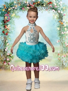 Cute High Neck Mini-length Short Beading Little Girl Dress For 2014