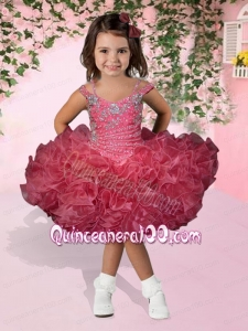 Cute Watermelon Ball Gown Spaghetti Straps Beading and Ruffles Little Girl Dress with Knee-length