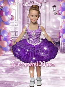 Elegant Ball Gown Halter Knee-length Purple Little Girl Dress