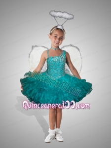 Exquisite Turquoise Asymmetrical Mini-length Beading and Ruffles Little Girl Dress for 2014