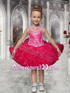 Fashionable Straps Beading and Ruffles Coral Red Little Girl Dress for 2014