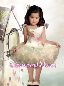 Romantic Ball Gown Scoop Mini-length Beading White Little Girl Dress