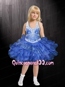 Royal Blue Halter Beading and Ruffles Ball Gown Mini-length Little Girl Dress for 2014