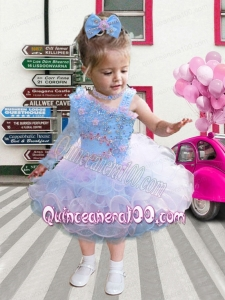 Sweet 2014 Ball Gown Asymmetrical Tea-length Beading Ruffles Little Girl Dress