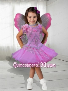 Sweet V-neck A-Line Knee-length Appliques and Beading Little Girl Dress for 2014