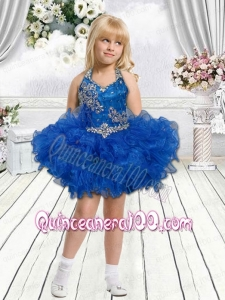 Cute Royal Blue Beading and Ruffles Mini-length Little Girl Dress with Halter