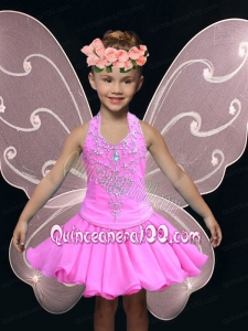 A-Line Beading and Appliques Little Girl Dress with for 2014