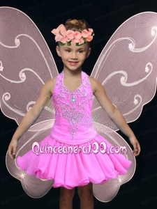 A-Line Halter Mini-length Hot Pink Little Girl Dress with Beading