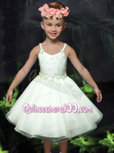 Beautiful A-Line Straps Tea-length White Flower Girl Dress with Bowknot