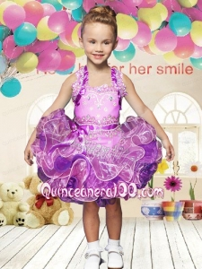 Beautiful Ball Gown Halter Mini-length Beading and Ribbons Lilac Little Girl Dress