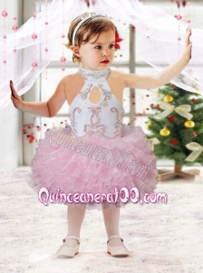 Beautiful Ball Gown Halter Tea-length Beading Ruffles Pink Little Girl Dress