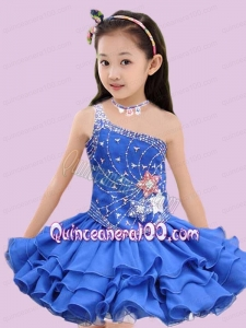 Beautiful Royal Blue One Shoulder Beading and Ruffles Little Girl Dress for 2014
