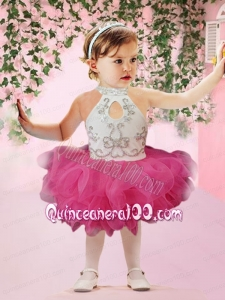 Cute Ball Gown Halter Knee-length Beading Ruffles White and Hot Pink Little Girl Dress