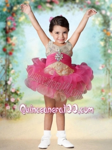 Cute Ball Gown Halter Mini-length Lace Beading Hot Pink Little Girl Dress