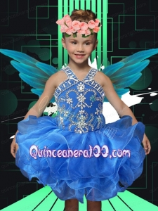 Cute Ball Gown Straps Knee-length Beading Royal Blue Little Girl Dress