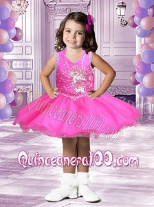Cute Short Scoop Appliques and Beading Little Girl Dress for 2014