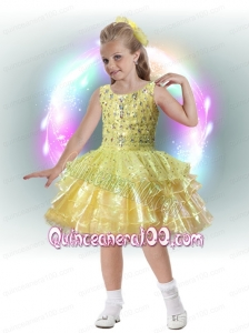 Elegant A-Line Scoop Knee-length Beading Ruffled Layers Yellow Flower Girl Dress