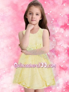 Elegant A-Line Scoop Mini-length Ruching Flower Girl Dress in Yellow
