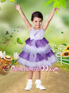 Elegant A-Line Straps Knee-length Bowknot Ruffled Layers Purple and White Little Girl Dress