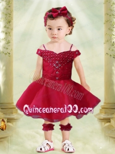 Elegant Wine Red A-Line Off the Shoulder Tea-length Little Girl Dress with Appliques and Beading
