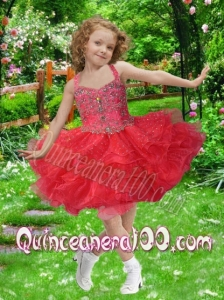 Exquisite Ball Gown Halter Beading and Ruffles Red Little Girl Dress for 2014