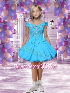 Fashionable A-Line Off Shoulder Mini-length Beading Aqua Blue Little Girl Dress