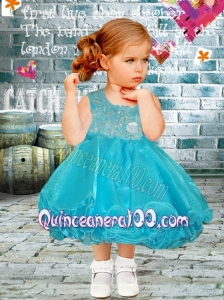 Fashionable A-Line Scoop Tea-length Appliques and Beading Little Girl Dress