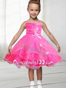 Fashionable A-Line Straps Knee-length Bowknot Hot Pink Flower Girl Dress