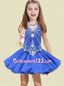 Fashionable Short Beading and Appliques Little Girl Dress with Halter