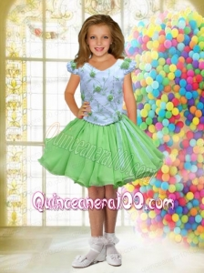 Green and White A-Line V-neck Short Sleeves Little Girl Dress with Beading