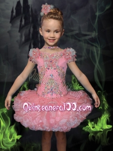 Luxurious Ball Gown Bateau Mini-length Beading Short Sleeves Pink Little Girl Dress
