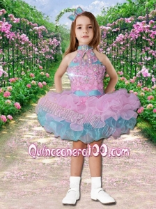 Luxurious Ball Gown High Neck Mini-length Beading Pink and Blue Little Girl Dress